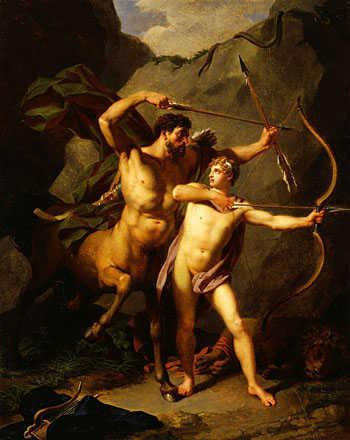 Young Achilles being taught by the centaur Chiron. Painting by Regnault, 1804.